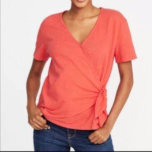 Old Navy Textured Wrap Tie Front Blouse